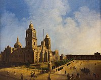 Mexico City Metropolitan Cathedral's (1571–1813) 18th century painting. The cathedral was built by the Spaniards over the ruins of the main Aztec temple.