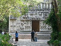 Reconstruction of the entrance to the Hochob temple in the National Museum of Anthropology