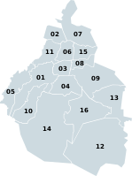 The 16 boroughs of Mexico City