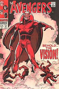 Debut of the Silver Age Vision: The Avengers #57 (Oct. 1968). Cover pencils by John Buscema.