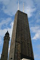 John Hancock Center in Chicago by Fazlur Rahman Khan was the first building to use X-bracing to create the trussed-tube design.