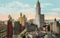 The Woolworth Building and the New York skyline in 1913. It was modern on the inside but neo-Gothic on the outside.