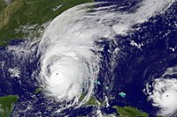 Hurricane Irma on September 10, just before landfall on Florida. Hurricane Jose can be seen to the lower right.