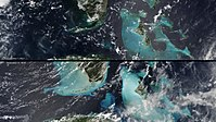 True-color images before and after the passage of Irma, in which light blue indicates sediment suspended in the water, kicked up by the intensity of the storm