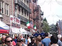 The American and Italian flags in Boston's North End