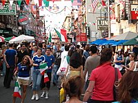 Little Italy in Manhattan after Italy won the 2006 FIFA World Cup.