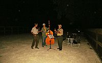 An outdoor jam session with acoustic instruments.