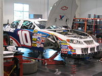 Scott Riggs' No. 10 Valvoline Chevy in the MB2 shop in 2005.