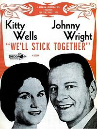 Ad featuring Kitty Wells and husband Johnnie Wright's first joint album, We'll Stick Together