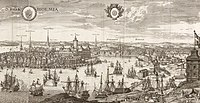 Detail of engraving of Stockholm from Suecia Antiqua et Hodierna by Erik Dahlbergh and Willem Swidde, printed in 1693.