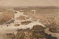 Panorama over Stockholm around 1868 as seen from a hot air balloon.