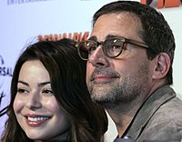 Co-star Miranda Cosgrove and Carell at a premiere for Despicable Me 2, June 2013