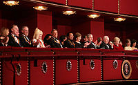 The 2006 honorees at the Kennedy Center on December 6, 2006, with President George W. Bush and First Lady Laura Bush; from left, Andrew Lloyd Webber, Steven Spielberg, Dolly Parton, Zubin Mehta, Smokey Robinson, Vice President Dick Cheney and Second lady  Lynne Cheney