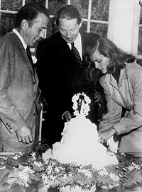 Best man Louis Bromfield (center) at the wedding of Humphrey Bogart and Lauren Bacall at Malabar Farm on May 21, 1945