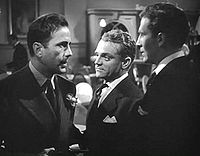 Bogart with James Cagney and Jeffrey Lynn in The Roaring Twenties, 1939, the last film Cagney and Bogart made together