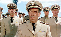 Bogart as the paranoid Captain Queeg in The Caine Mutiny (1954)