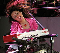 Cyrus performing on her Best of Both Worlds Tour in 2007