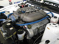 5.0 L R50 Cammer 4-valve DOHC V8 engine installed in a Grand-Am Cup Mustang FR500C.