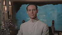 Dr. No with his aquarium in the background.