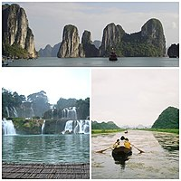 Nature attractions in Vietnam, clockwise from top: Hạ Long Bay, Yến River and Bản-Giốc Waterfalls