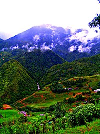 Sa Pa mountain hills with agricultural activities