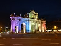 Puerta de Alcalá, Madrid, illuminated with the rainbow colours during the celebrations of WorldPride 2017