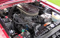 Ford 289 K-code engine in a Shelby GT 350: The radiator hose connects to the intake manifold, a telltale Windsor feature.