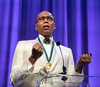 RuPaul speaking at the 2019 California Hall of Fame to which he was inducted.