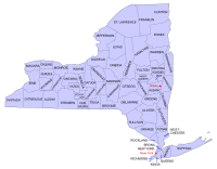 Map of the counties in New York