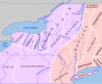 New York was dominated by Iroquoian (purple) and Algonquian (pink) tribes.