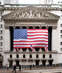 The New York Stock Exchange, the world's largest stock exchange by total market capitalization of its listed companies