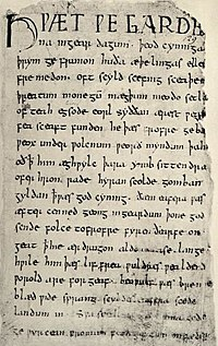 """The first page of the Beowulf manuscript with its opening Hƿæt ƿē Gārde/na ingēar dagum þēod cyninga / þrym ge frunon... """"Listen! We of the Spear-Danes from days of yore have heard of the glory of the folk-kings..."""""""