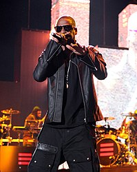 Jay-Z performing at the Coachella Valley Music and Arts Festival in April 2010