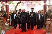 Uniformed Delhi Police officers guard the President of India.