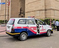 A Delhi Police All Women PCR vehicle. The car pictured is a Toyota Innova.