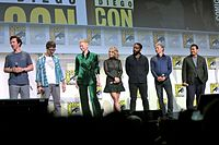 Left to right: Cumberbatch, Derrickson, Swinton, McAdams, Ejiofor, Mikkelsen, and Wong at the 2016 San Diego Comic-Con