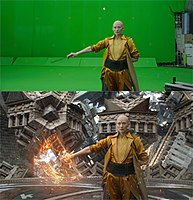 The Manhattan mirror sequence was mostly filmed on green screen (top), with visual effects added by ILM (bottom).