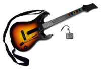 """The """"Genericaster"""" guitar controller bundled with Guitar Hero World Tour (pictured is the PlayStation 3 guitar controller). Unlike previous Guitar Hero controllers, this controller is not based on a real guitar."""