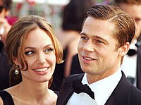 Jolie with Brad Pitt, at the Cannes premiere of A Mighty Heart in 2007