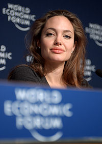 Jolie at the World Economic Forum's annual meeting in January 2005