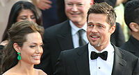 Jolie with her then-partner Brad Pitt, at the 81st Academy Awards in February 2009, in which each was nominated for a leading performance