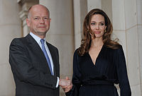 British Foreign Secretary William Hague and Jolie at the launch of the Preventing Sexual Violence Initiative in May 2012