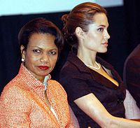 Secretary of State Condoleezza Rice and Jolie at a UNHCR celebration of World Refugee Day in June 2005