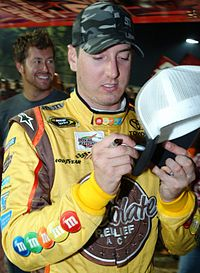 Kyle Busch won the race, leading a race high of 282 laps, and became the first driver to win in all three major NASCAR divisions in a single weekend.