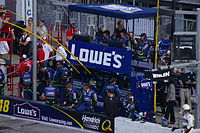 The Lowe's-sponsored team of Jimmie Johnson's pit box