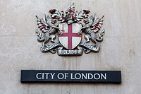 """Coat of arms of the City of London. The Latin motto reads Domine Dirige Nos, """"Lord, guide us""""."""