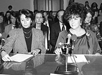 Congresswoman Nancy Pelosi alongside Taylor, who is testifying in 1990 before the House Budget Committee on HIV-AIDS Funding