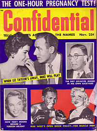 Taylor's relationships were subject to intense media attention throughout her adult life, as exemplified by a 1955 issue of gossip magazine Confidential.