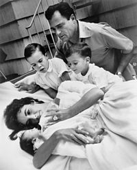 Taylor with her third husband Mike Todd and her three children in 1957